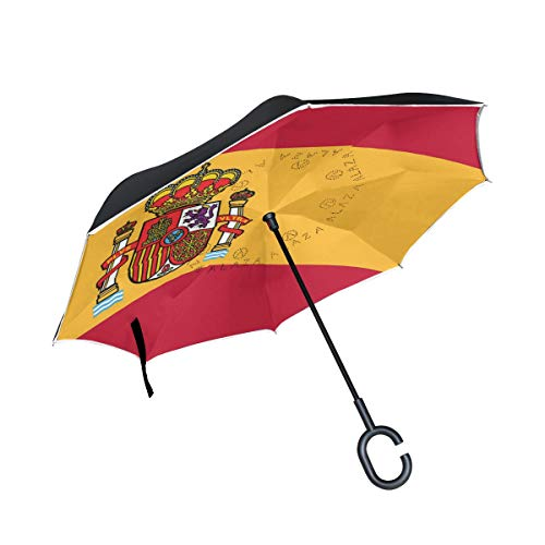 All agree Reverse Umbrella Spain Flag Long Tail Inverted Umbrella Reversible for Golf Car Travel Rain Outdoor Black