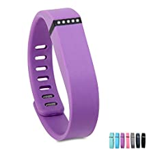 Wristband for Fitbit Flex, GMYLE Replacement Silicon Wrist Band Bracelet with Clasp for Fitbit Flex Activity and Sleep Tracker (Large) (Purple)