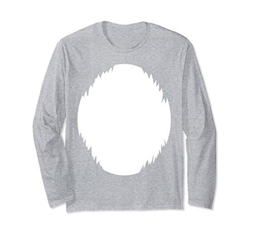 Unisex DIY Halloween Costume Light White furry belly Animal Shirt Large Heather Grey -