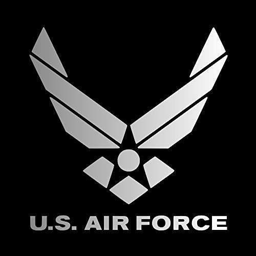 (U.S. Air Force Logo with Words [Pick Any Color] Vinyl Transfer Sticker Decal for Laptop/Car/Truck/Window/Bumper (5in x 5in (Car Size), Silver))