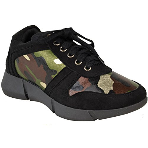 Fashion Thirsty Womens Flat Lace Up Sneakers Sports Fashion Trainers Gym Shoes Size Black Faux Suede / Camouflage CaDMeA
