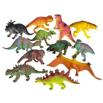 Large Plastic Dinosaur Set - 12 Pack - 5.5 Inches, Assorted Realistic Looking Dinosaur Figures – Toy For Kids, Play, Decoration, Gift, Prize, Party Favor – By - Mini Figure Assortment