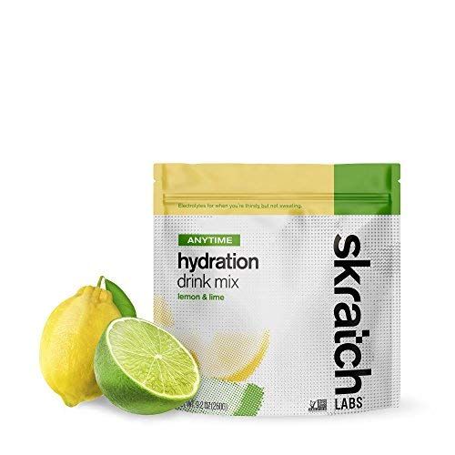 SKRATCH LABS Anytime Hydration Drink Mix, Lemon Lime, (9.2 oz, 20 Serving Bag) Natural Electrolyte Powder for Performance Anytime, Low Sugar, Gluten Free, Vegan, Kosher, Dairy Free by Skratch Labs