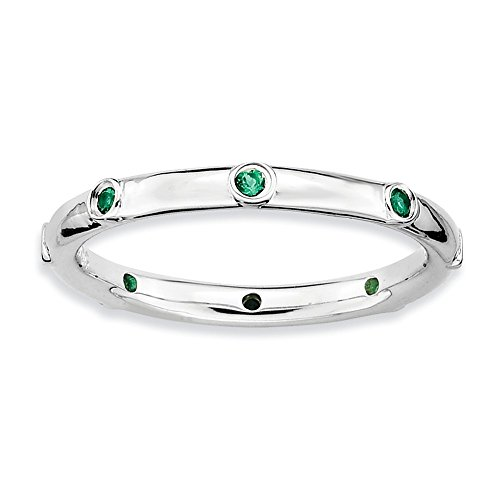 Size 5 - Lab Created Emerald 2.25mm Studded Band Sterling Silver Stackable Expressions - Studded 2.25 Band Mm