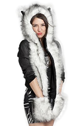 [Lkous Huskies Full Hoodie Hat 3-in-1 Function Faux Fur Scarf] (Fox Hat Costume)