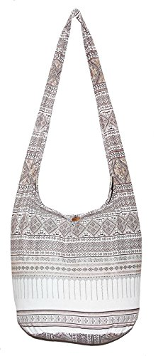 Hippie Classics Colorful Bohemian Shoulder Hobo Boho Cross Body Bag (WhiteBrown) by All Best Thing