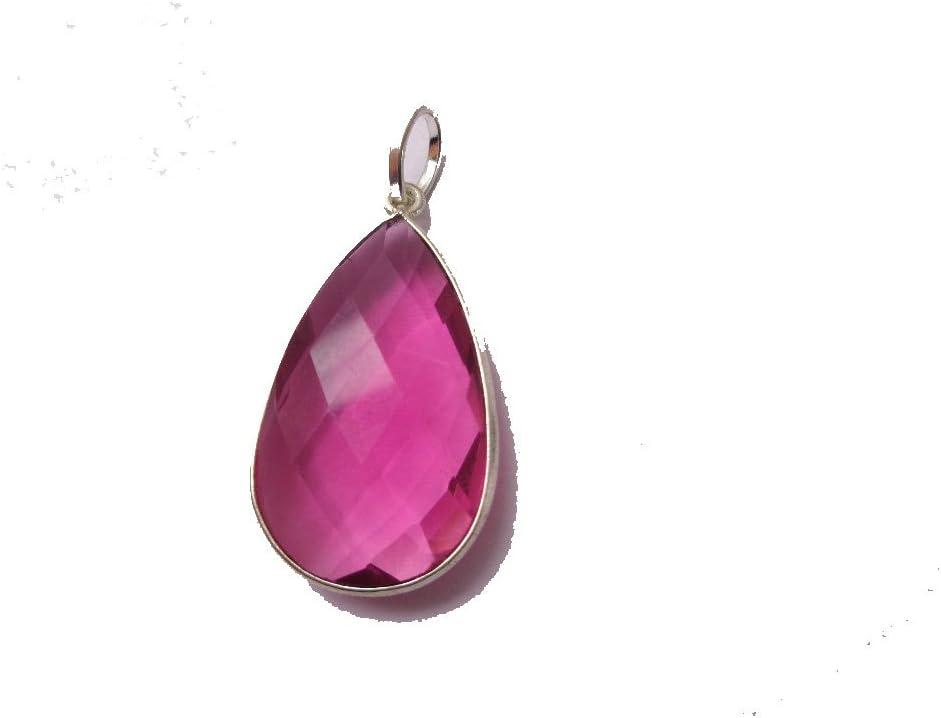 Color rosa turmalina colgante en forma de lágrima, colgante de plata con relleno, regalo para ella, día de Acción de Gracias regalo