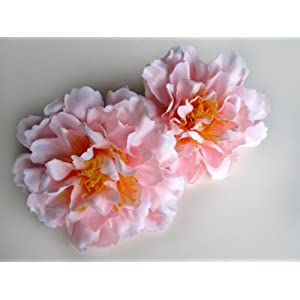 """(12) Silk Pink Peony Flower Heads - 4"""" - Artificial Flowers Peonies Head Fabric Floral Supplies Wholesale Lot for Wedding Flowers Accessories Make Bridal Hair Clips Headbands Dress 1"""