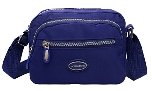 Bags Casual Handle Crossed Women Odomolor Handbags Top Blue Nylon Fashion wIBxWSRpzq
