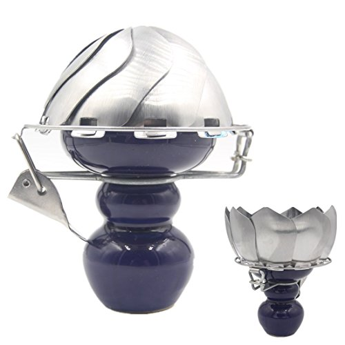 Hookah Charcoal Holder Ceramic Head Foldable Charcoal Bowl With Wind Cover For Hookah (Blue) by BAOXI