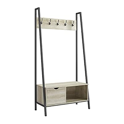 "WE Furniture AZT72FINWO Hall Tree, 72"", White Oak - Constructed of high-grade MDF and powder-coated metal Stylish, mid-century modern design 5 clothing hooks - hall-trees, entryway-furniture-decor, entryway-laundry-room - 41TbBN9oLNL. SS400  -"