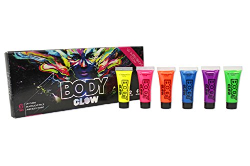Body Glow - UV Glow Black-light Face and Body - Face Types For Sunglasses