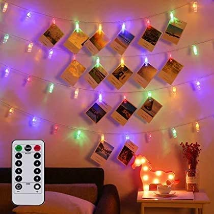 Magnoloran LED Photo String Lights with Remote Control, 20 Photo Clips Fairy Twinkle Lights, Wedding Party Christmas…