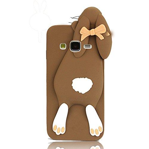 Funda Sunroyal® Case Rabbit Cover Samsung Galaxy Grand Prime G530, G530H G530FZ G5308W Funda Shock-Absorción Teléfono Móvil Cáscara Accesorios Los Dientes Divertido Lindo Rabbit Arco Conejo Protectora Color4