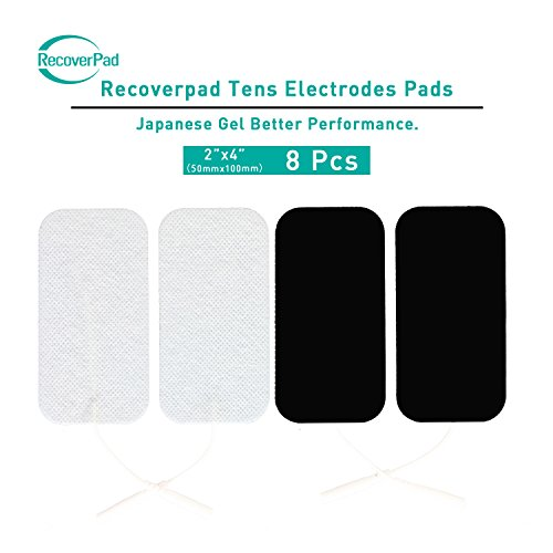 RecoverPad 2X4 Rectangular Professional OTC TENS Unit Pads,8-Pack Compatible with TENS 7000 and Most TENS Machines, Electrodes Value Pack, Premium Quality