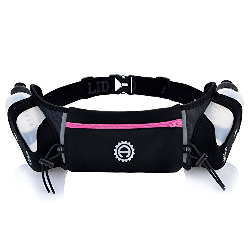 Hydration Belts For Runners - Adalid Gear Hydration Belt for Running - Includes Accessories and Two 10-Ounce BPA-Free and Leak-Proof Water Bottles : A Bounce-Free & Lightweight Fuel Gear (Crayola Pink, Medium)