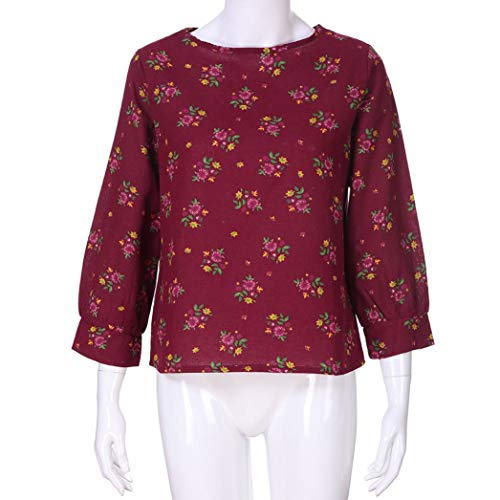 Haut Coton Longues Shirt Rond Chemisier AIMEE7 Blouse Col Manches Femme T Rouge Lin Chic tn7vF