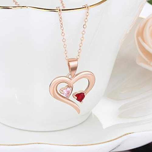 Personalized 2 Names Simulated Birthstones Necklaces 2 Couple Hearts Name Engraved Pendants for Women £¨Rose Gold by Love Jewelry (Image #4)