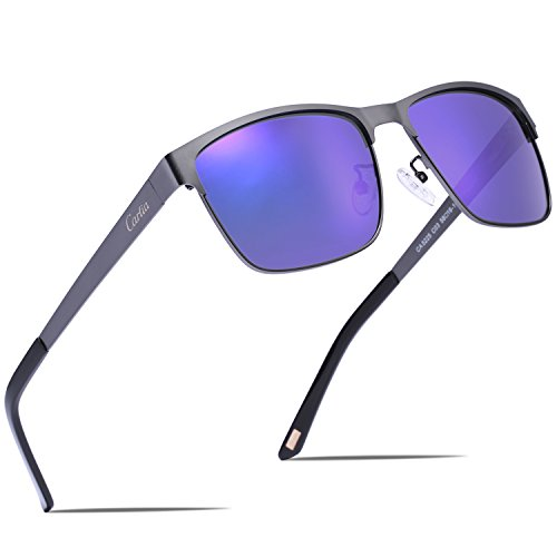 Carfia Metal Polarized Sunglasses for Men Driving Fishing Travelling Golf, Square Sunglasses 100% UV Protection by Carfia