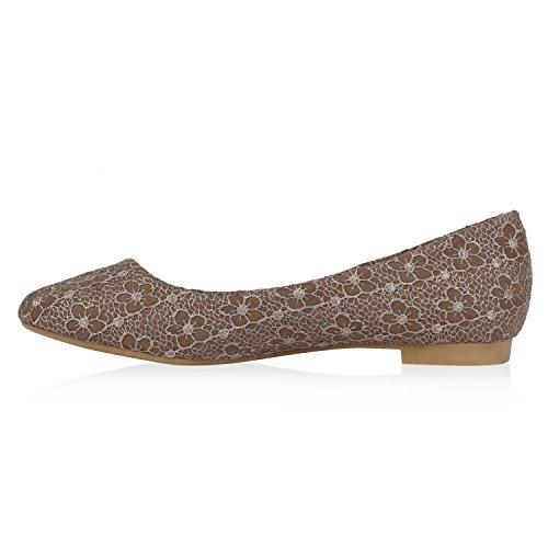 Damen Klassische Ballerinas Glitzer Schuhe Flats Pailletten Strass Lack Ballerina Slipper Schleifen Metallic Slip Ons Spitze Flandell Khaki