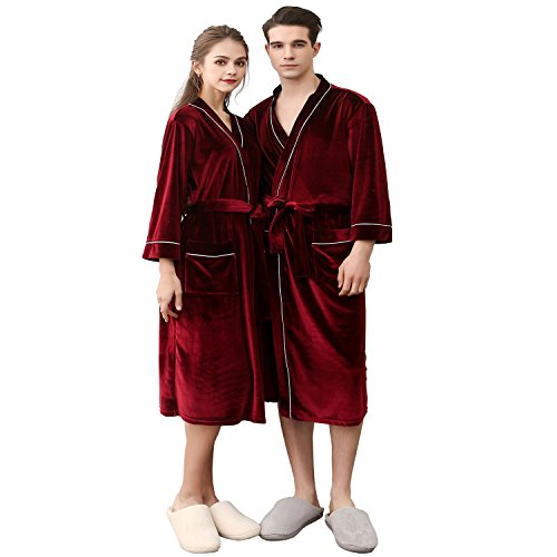 BridalAffair Mens and Womens Soft Velvet Robe,Cotton Lightweight Bathrobe,Spa Robes