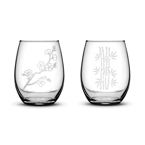 - Integrity Bottles Premium Stemless Wine Glasses, Set of 2, Cherry Blossom and Bamboo, Deep Etched 15 Ounce Gifts, Made in USA, Sand Carved by Hand