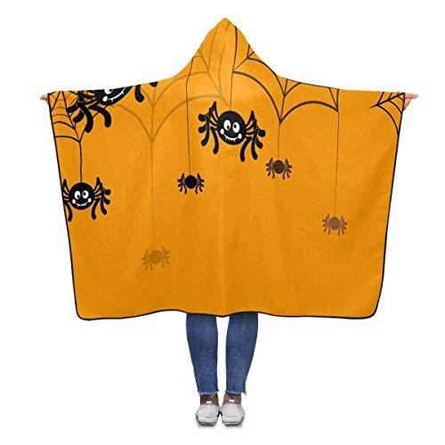 InterestPrint Halloween Spider Hooded Blanket 80 x 56 inches Adults Girls Boys Blankets Throw Wrap (56 Halloween Spider)
