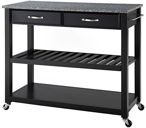 Crosley Furniture Portable Kitchen Cart with Solid Grey Granite Top - Black from Crosley Furniture
