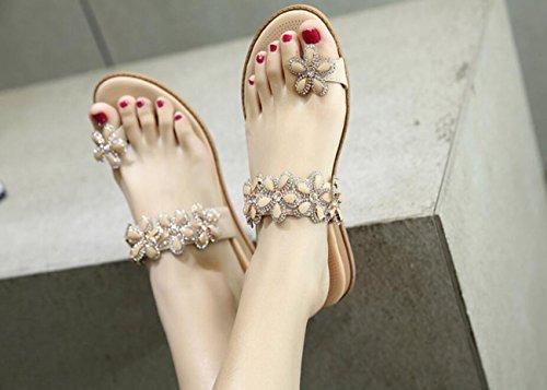 Chanclas de Zapatos Sandalias para Sandalias DANDANJIE Casuales Mujer Plano tacón Sandalias Bohemia caseros Albaricoque Verano Zapatos de Playa fdwFRnSq