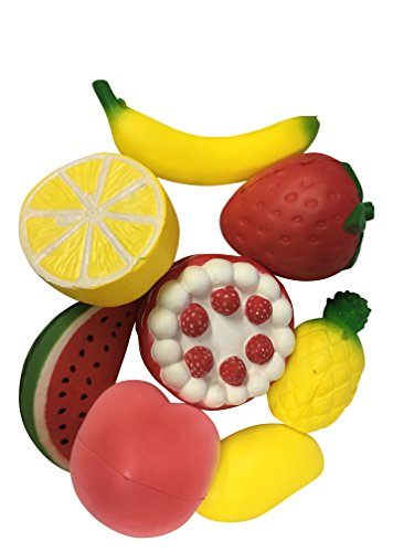Set of 8 Jumbo Size Fruit Squishies Slow Rising Toys Extra Large Perfect for kids adults Toys Games Decoration Education Stress Relief. Cake Strawberry Mango Peach Lemon Banana Pineapple Watermelon (Cake Banana Strawberry)