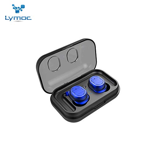 Portable Hands Free Stereo Earpiece - LYMOC Touch True Wireless Stereo Headsets Mini TWS 5.0 Earbuds Bluetooth Earphones Touch Control Auto Paired HiFi Stereo Portable Earpieces Nosice Cancelling with Mic Handsfree for Phone (Blue)