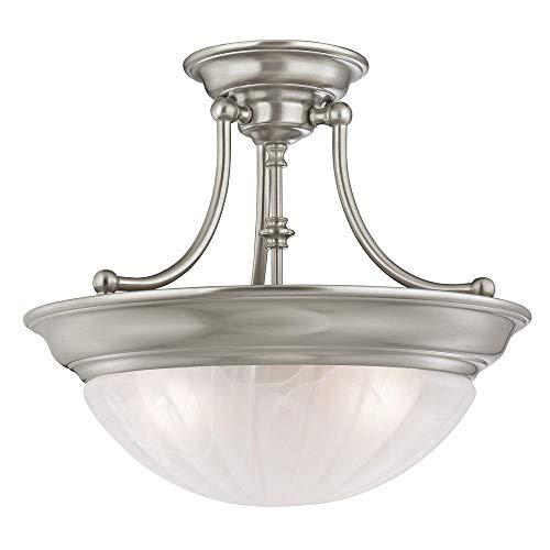 Alabaster Melon Ceiling Flush - Three-Light Semi-Flush Light