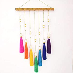 SJRI Wall Hanging Tassel Decor Rainbow