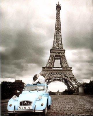 (16x20) Paris Romance (Couple Kissing, Eiffel Tower) Art Poster Print (Eiffel Tower Dvd Tower)