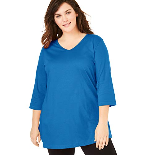 Woman Within Women's Plus Size Perfect V-Neck Three-Quarter Sleeve Tunic - Deep Cobalt, - Top Sleeve Tunic V-neck