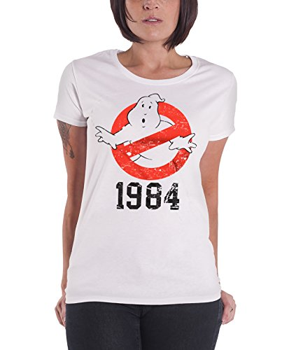 Ghostbusters T Shirt 1984 new Official Womens Junior Fit White