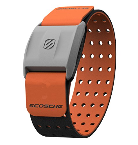 Scosche Rhythm+ Heart Rate Monitor Armband - Orange - Optical Heart Rate Armband Monitor with Dual Band Radio ANT+ and Bluetooth Smart - Skin 10 Mini