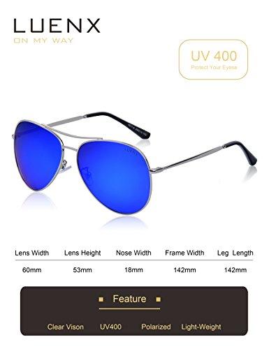 azul Aviador el sol con UV LUENX de caso polarizado conducción 60mm Hombre Protección 400 6 de Oscuro gafas wq1Iza1F