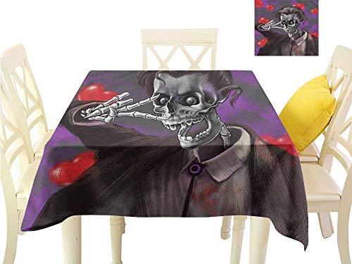 (WilliamsDecor Small Tablecloth Skull,Romantic Skeleton Hearts BBQ Tablecloth W 36
