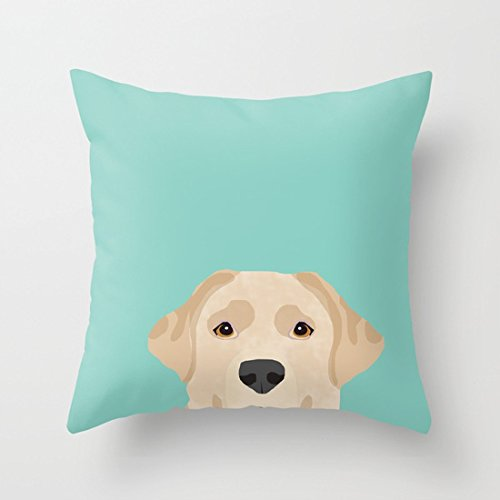 UOOPOO Yellow Lab Dog Portrait Labrador Retriever Dog Art Pet Friendly Cotton Canvas Pillow Case 18 x 18 Inches Square Cushion Cover for Pet Lovers Print One Side