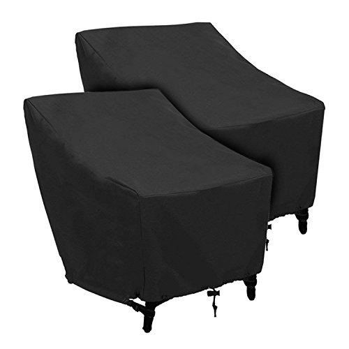 Patio Chairs Covers Outdoor Chair Cover Waterproof and Durable Fabric Premium Stackable Chairs Cover Outdoor Furniture Cover Black Thick Oxford Cloth L31 x D39 x H31 inch, 2 Pack