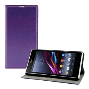Cerhinu Elegant leather case for the Sony Xperia Z1 with magnetic fastener and stand function in purple from kwmobile