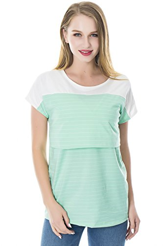 up Maniche Corte Top a Lift Donna Breastfeeding Righe Verde Camicie Smallshow Infermieristica qwH8pUcF