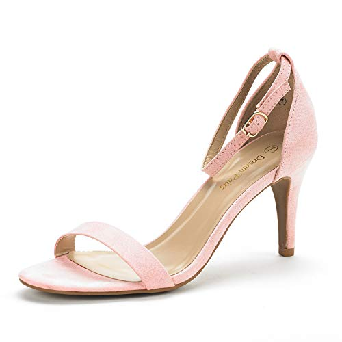DREAM PAIRS Women's Jenner Pink Ankle Strap Stilettos Low Heels Pumps Sandals Dress Shoes Size 10 US