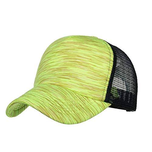 2018 Unisex Adjustable Cap Band Colorful Stripes Baseball Cap Hat Mesh Cap Outdoor Sun Hat (Yellow) ()