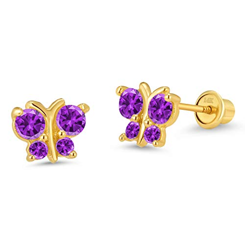 14k Yellow Gold Purple Butterfly Cubic Zirconia Children Screwback Baby Girls Earrings