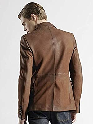 Leather Hubb Mens Blazer New Zealand Lambskin Brown Stylish Slim Fit Blazer Jacket for Men