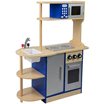 Amazon Com Constructive Playthings Wooden Deluxe Kitchen Playset