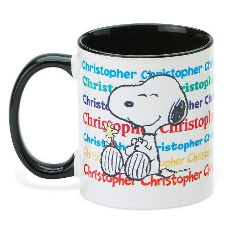 Peanuts Name Personalized Black Handle Mug - 11 Ounce Coffee Cup -