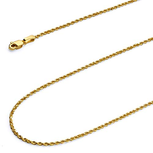 Wellingsale 14k Yellow Gold Polished Solid 2mm Diamond Cut Solid Rope Chain with Lobster Claw Clasp - 18